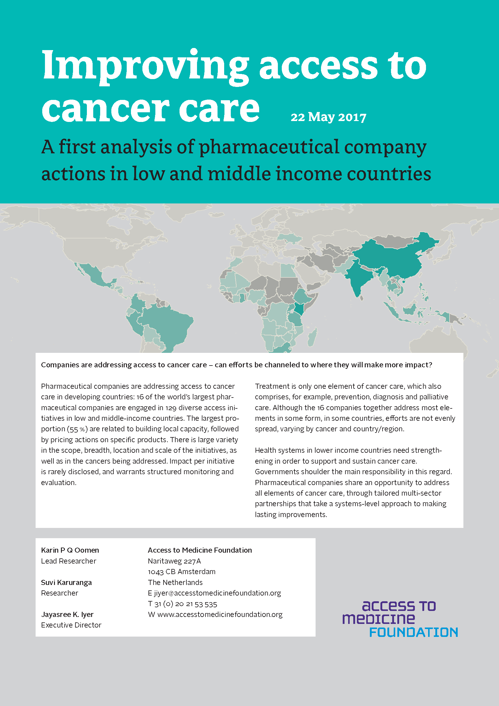 Improving Access To Cancer Care: A First Analysis Of Pharmaceutical Company Actions In Low And Middle Income Countries
