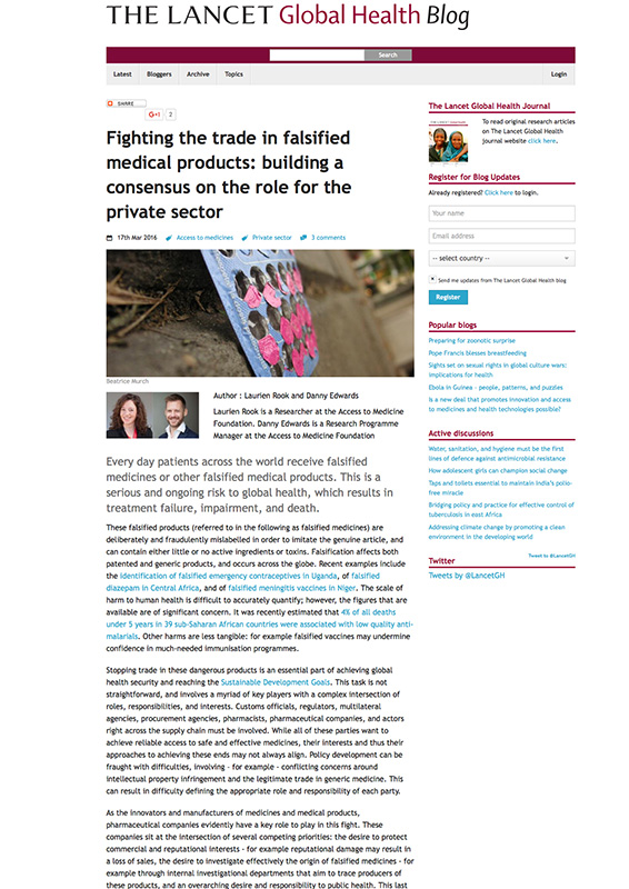 Fighting The Trade In Falsified Medical Products: Building A Consensus On The Role For The Private Sector