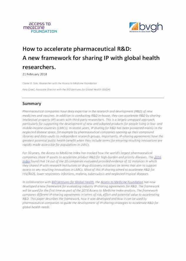 How To Accelerate Pharmaceutical R&D:  A New Framework For Sharing IP With Global Health Researchers.