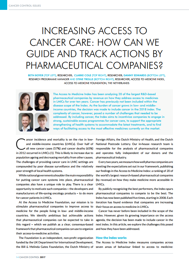 Increasing Access To Cancer Care: How Can We Guide And Track Actions By Pharmaceutical Companies?