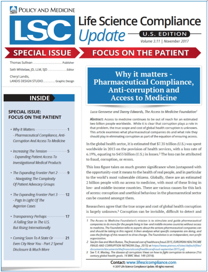 Why It Matters – Pharmaceutical Compliance, Anti-corruption And Access To Medicine