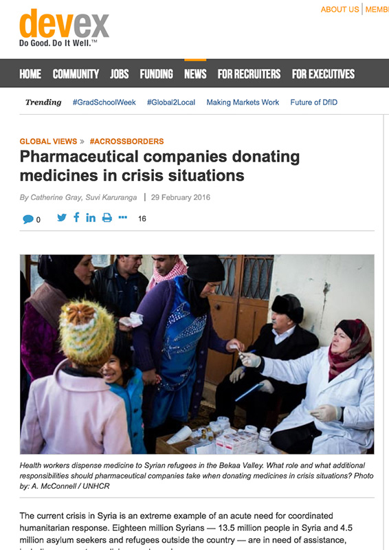 Pharmaceutical Companies Donating Medicines In Crisis Situations