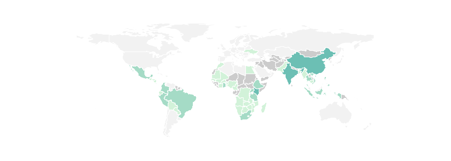 Figure 6. Companies are active in 63 out of 107 countries in scope